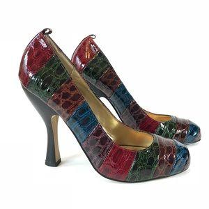 HALE BOB Multicolor Faux Alligator Pumps Shoe Heel